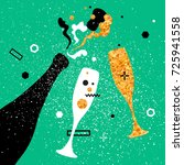 champagne flutes and bottle... | Shutterstock . vector #725941558