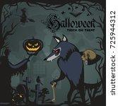 werewolf holding skull on...   Shutterstock .eps vector #725944312
