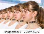 a lot of women in a row with... | Shutterstock . vector #725944672
