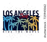 los angeles surfing graphic... | Shutterstock .eps vector #725945062