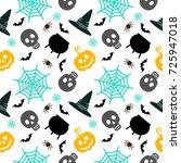 halloween seamless pattern.... | Shutterstock . vector #725947018