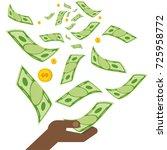 black hand holding money. coins ... | Shutterstock . vector #725958772