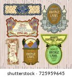 vector vintage items  label art ... | Shutterstock .eps vector #725959645