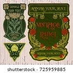 vector vintage items  label art ... | Shutterstock .eps vector #725959885