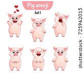 Vector Set Of Cute Pig...