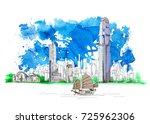 hong kong business center  bank ... | Shutterstock . vector #725962306
