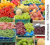 fruits and vegetables at market ... | Shutterstock . vector #725962546