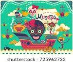 lovely day of the dead poster ... | Shutterstock .eps vector #725962732