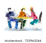 silhouettes of successful... | Shutterstock . vector #725963266