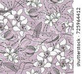 vector floral seamless pattern... | Shutterstock .eps vector #725964412