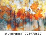 Small photo of autumn leaves on rainy glass texture. concept of fall season. autumn background. orange maple leaves in rain. rainy day weather
