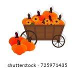 pumpkins in a wooden cart... | Shutterstock .eps vector #725971435