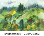 watercolor of the trees and... | Shutterstock . vector #725973352