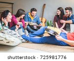 happy friends having party... | Shutterstock . vector #725981776