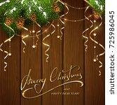 gold lettering merry christmas...   Shutterstock .eps vector #725986045
