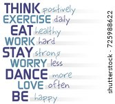 phrase think positively be happy | Shutterstock . vector #725988622