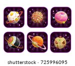 app icons with food planets.... | Shutterstock .eps vector #725996095