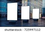 three white billboard... | Shutterstock . vector #725997112
