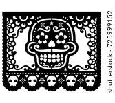 mexican sugar skull vector... | Shutterstock .eps vector #725999152