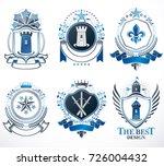 set of old style heraldry...   Shutterstock .eps vector #726004432