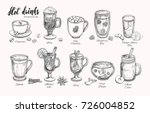 hot drinks. vector christmas... | Shutterstock .eps vector #726004852