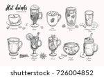 hot drinks. vector christmas... | Shutterstock .eps vector #726004852