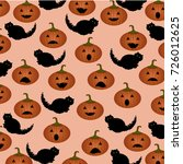 halloween pattern with pumpkins ... | Shutterstock .eps vector #726012625