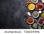 set of various spices on black... | Shutterstock . vector #726019396