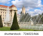 Small photo of University of Debrecen main building with fountain and the clock tower in Debrecen, Hungary. The oldest continuously operating institution of higher education in Hungary(since 1538).