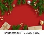christmas tree metallic gold... | Shutterstock . vector #726034102