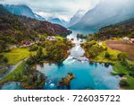 beautiful nature norway natural ... | Shutterstock . vector #726035722