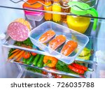 raw salmon steak in the open... | Shutterstock . vector #726035788