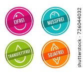 vegan symbols. eifrei  nussfrei ... | Shutterstock .eps vector #726044032