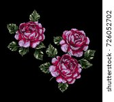 vector embroidery with roses.... | Shutterstock .eps vector #726052702