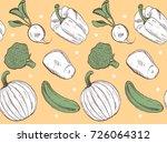 fresh organic vegetables ... | Shutterstock .eps vector #726064312