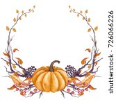autumn wreath with watercolor... | Shutterstock . vector #726066226