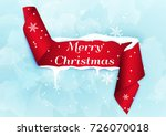 merry christmas ribbon banner. | Shutterstock .eps vector #726070018