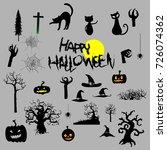 happy halloween party  vector... | Shutterstock .eps vector #726074362