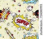 seamless pattern cartoon comic... | Shutterstock . vector #726080992