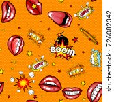 seamless pattern cartoon comic... | Shutterstock . vector #726082342