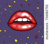 fashion girls lips with red... | Shutterstock . vector #726082702