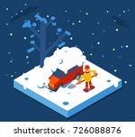 isometric winter man digs car... | Shutterstock .eps vector #726088876