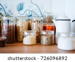 jar of cereals in kitchen... | Shutterstock . vector #726096892