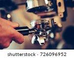 barista preparing espresso at... | Shutterstock . vector #726096952