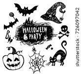 vector set of halloween... | Shutterstock .eps vector #726097042