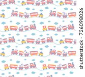 seamless pattern with cute toy... | Shutterstock .eps vector #726098026