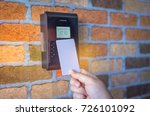 woman is using a key card with... | Shutterstock . vector #726101092