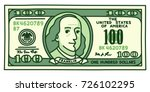 cartoon hand drawn 100 dollar... | Shutterstock .eps vector #726102295