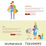 happy people with shopping bags.... | Shutterstock .eps vector #726104092