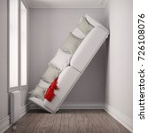small room place with big sofa... | Shutterstock . vector #726108076